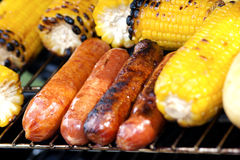 Grilled Corn And Sausages Stock Photography