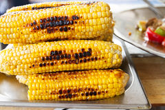 Grilled corn. Street food. Grilled yellow corn. Street food Royalty Free Stock Photography