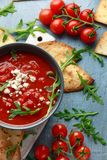 Grilled corn tortilla with sea salt flakes, spicy tomato salsa sauce and feta cheese.  royalty free stock photo