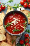 Grilled corn tortilla with sea salt flakes, spicy tomato salsa sauce and feta cheese.  stock photo