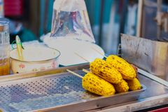 Grilled corn for sale royalty free stock photo