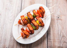 Grilled cottage cheese or also known as Paneer Tikka Kebab or chili paneer or chilli paneer or tandoori paneer in india India, bar Royalty Free Stock Images