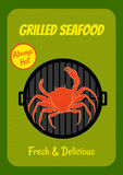 Grilled crab. Retro style poster with image of crab on a grill Royalty Free Stock Photography