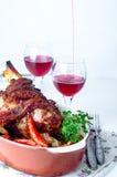 Grilled crispy spicy pork or chicken leg Stock Photo