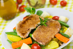 Grilled Cutlet Food , with colorful vegetable Royalty Free Stock Photography