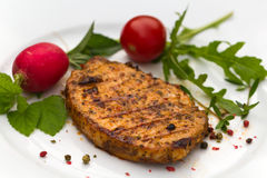 Grilled cutlet or schnitzel  of pork Royalty Free Stock Photos