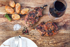Grilled cutlets of pork iberico Royalty Free Stock Photos