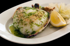 Grilled cuttlefish in garlic sauce Royalty Free Stock Images