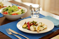 Grilled cuttlefish and vegetables Royalty Free Stock Photo