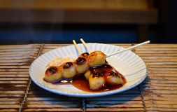 Grilled dango, Japanese Dessert - Japanese style sticky rice bal Royalty Free Stock Photography