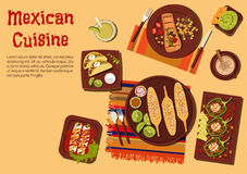 Grilled dishes of mexican cuisine for picnic icon Stock Image