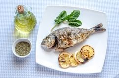 Grilled dorada fish with lemon and spinach Stock Photos