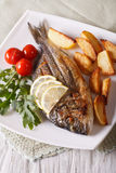 Grilled dorado fish with fried potatoes and tomato close-up Stock Photo