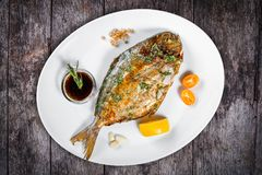 Grilled dorado fish with greens and lemon on wooden background. stock image
