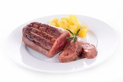 Grilled duck breast and potato Royalty Free Stock Photography