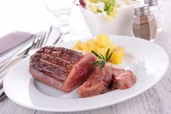 Grilled duck breast and potato Royalty Free Stock Images