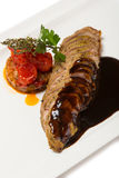 Grilled duck fillet with vegetable stew Stock Image