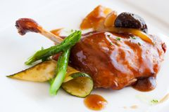 Grilled duck with sweet fruit sauce. Stock Photography