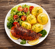 Grilled duck and vegetables Royalty Free Stock Photography