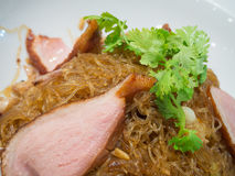 Grilled duck with vermicelli Stock Photos