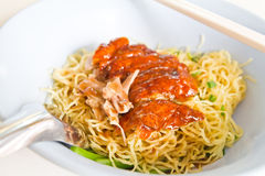 Grilled duck with yellow noodle Stock Image