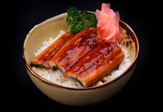 Grilled eel in bowl Stock Images