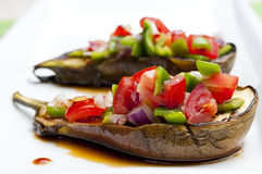 Grilled eggplant. Staffed with vegetables Royalty Free Stock Photos