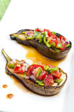 Grilled eggplant. Staffed with vegetables Stock Photography