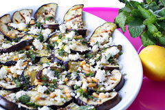 Grilled Eggplant And Goat Cheese With Pine Nuts Stock Photo