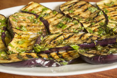 Grilled eggplant with dressing Stock Photos