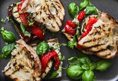Grilled eggplant, pepper, ciabatta bread sandwiches - healthy summer snack. Picnic food Royalty Free Stock Photography