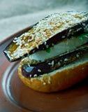 Grilled Eggplant and Portobello  Sandwich Stock Photo