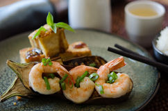 Grilled eggplant shrimp tofu with rice and saki Stock Photography