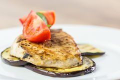 Grilled Eggplant Slice With Pork Chop Stock Image