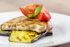 Grilled Eggplant Slice With Pork Chop Stock Images