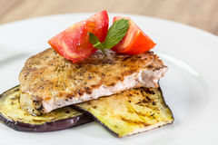 Grilled Eggplant Slice With Pork Chop Royalty Free Stock Photo