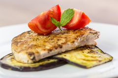Grilled Eggplant Slice With Pork Chop Royalty Free Stock Image