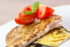 Grilled Eggplant Slice With Pork Chop Stock Photography