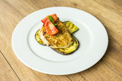 Grilled Eggplant Slice With Pork Chop Stock Photo