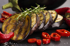 Grilled eggplant slices Royalty Free Stock Image