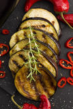 Grilled eggplant slices Stock Photos