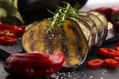 Grilled eggplant slices Royalty Free Stock Photography
