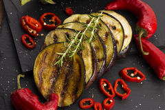 Grilled eggplant slices Stock Images