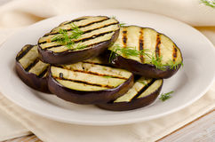 Grilled eggplant slices   with fresh herbs. Stock Photos