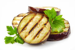 Grilled eggplant slices Stock Photos