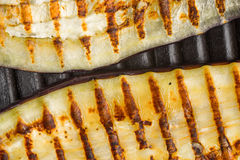 Grilled eggplant slices on the metal background top view Stock Photo