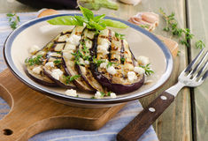 Grilled eggplant slices on a plate Royalty Free Stock Image