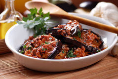Grilled eggplant with spices Royalty Free Stock Photography