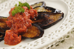 Grilled Eggplant with Tomato Sauce Royalty Free Stock Image