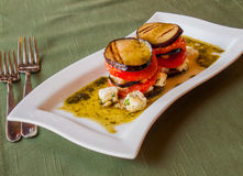 Grilled eggplant with tomatoes​, in olive sauce. Traditional italian crispy grilled eggplant with fresh tomatoes sliced​​, in olive sauce with cubes stock photos